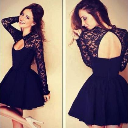 Black Long Sleeved Lace Skater Dres..